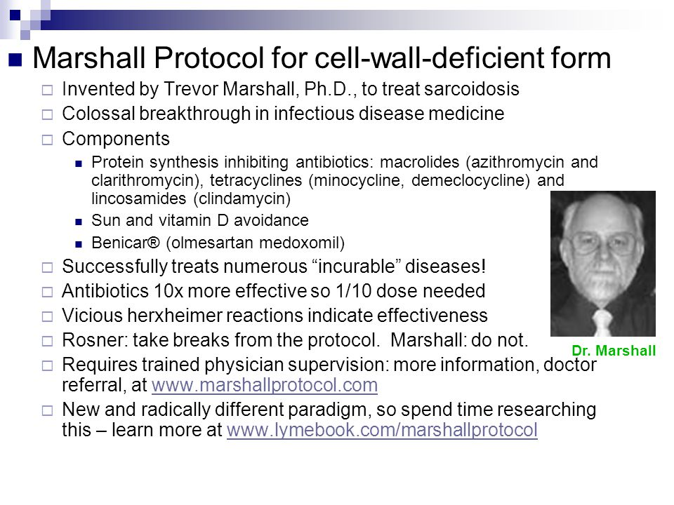 Marshall Protocol for cell-wall-deficient form