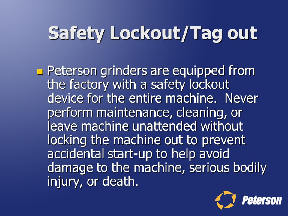 Safety Lockout/Tag out
