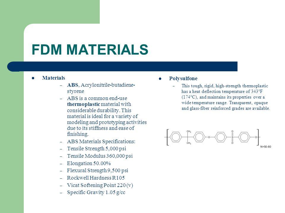 FDM MATERIALS Materials ABS, Acrylonitrile-butadiene-styrene