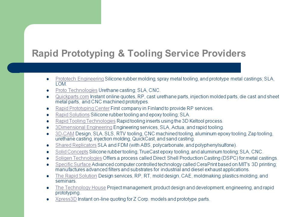 Rapid Prototyping & Tooling Service Providers