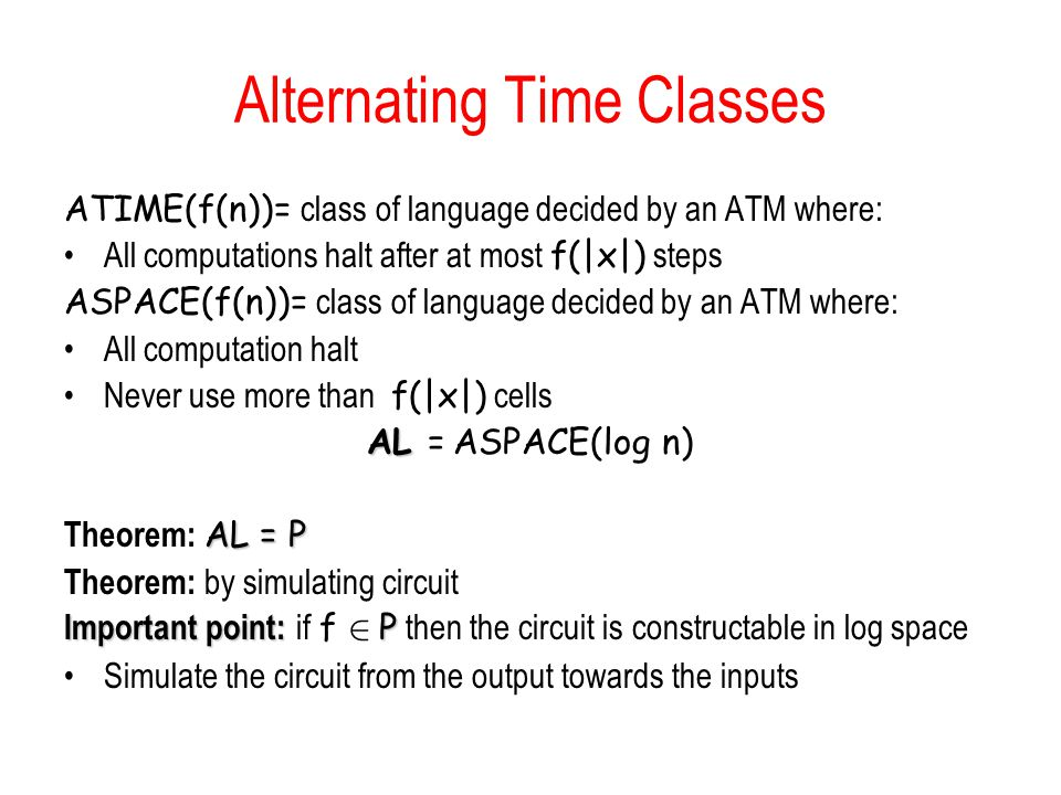Alternating Time Classes