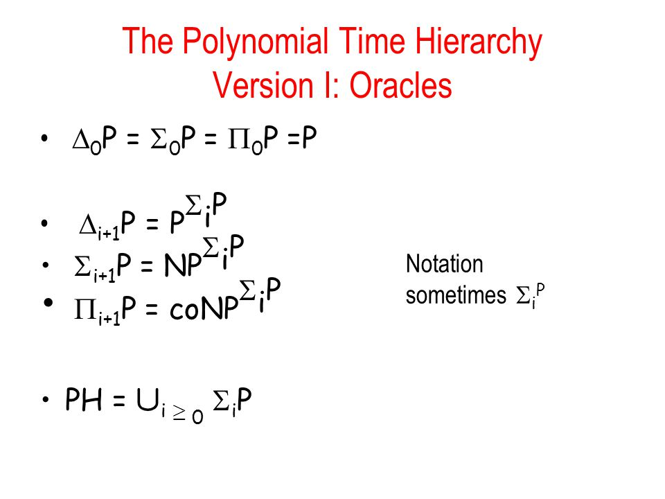 The Polynomial Time Hierarchy Version I: Oracles