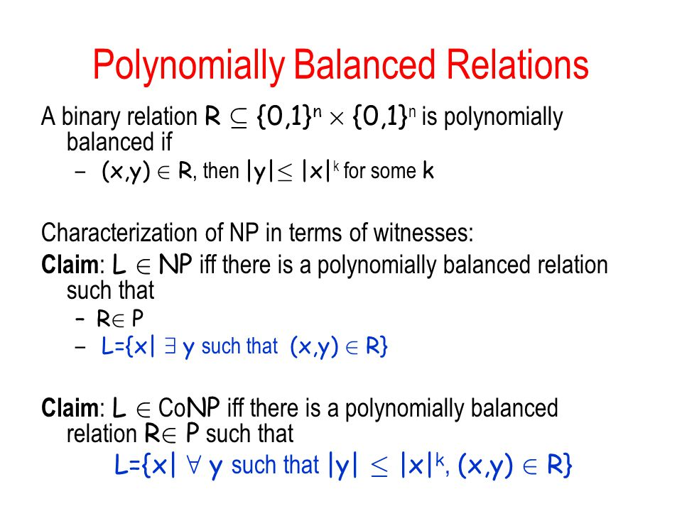Polynomially Balanced Relations