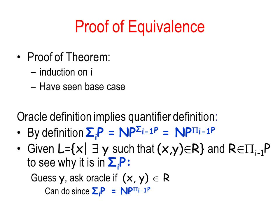 Proof of Equivalence Proof of Theorem: