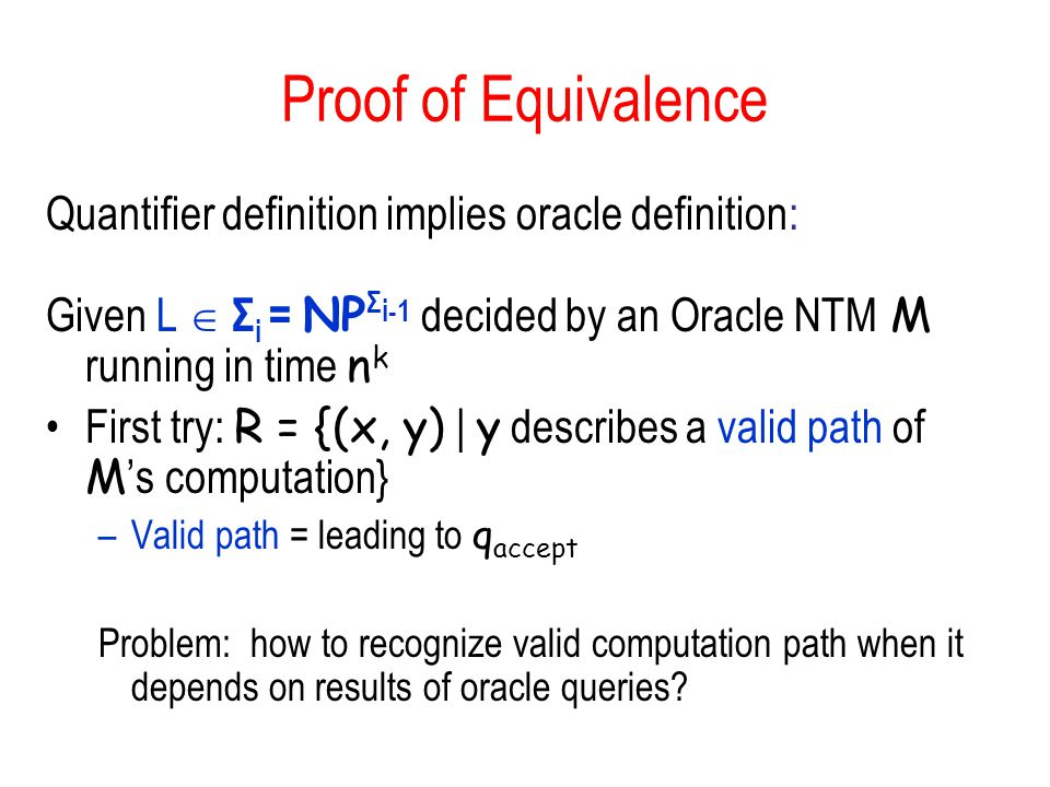 Proof of Equivalence Quantifier definition implies oracle definition: