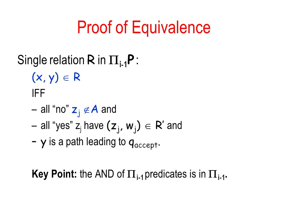 Proof of Equivalence Single relation R in Pi-1P : (x, y)  R IFF