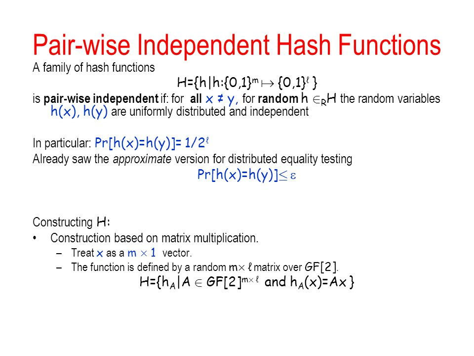 Pair-wise Independent Hash Functions