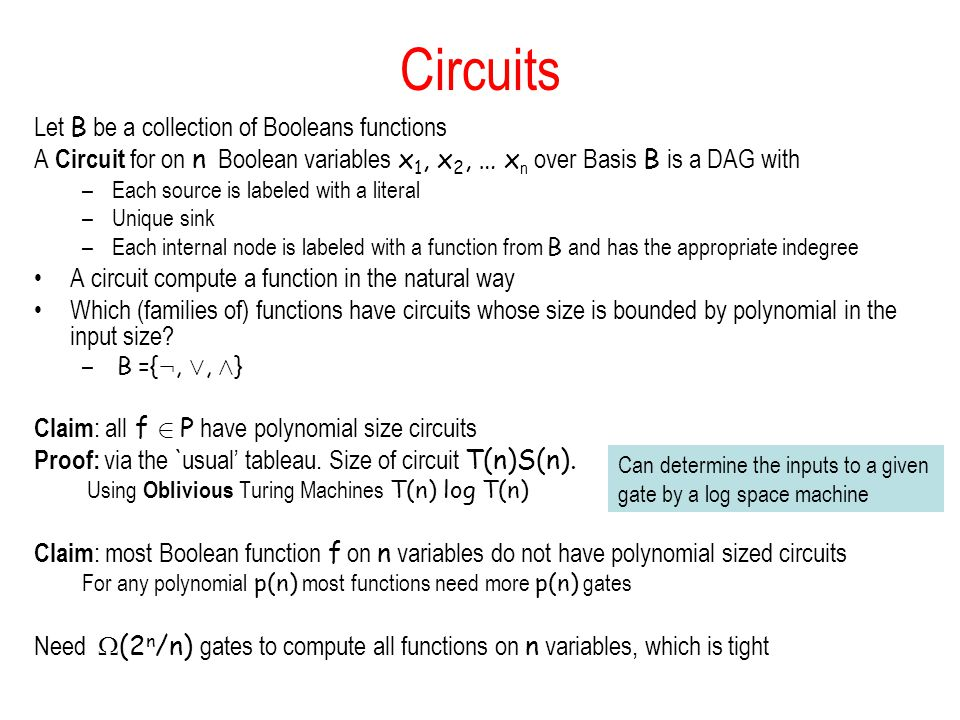 Circuits Let B be a collection of Booleans functions