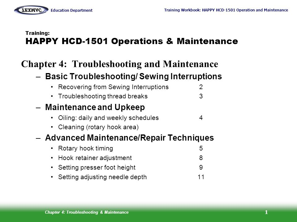 Training: HAPPY HCD-1501 Operations & Maintenance