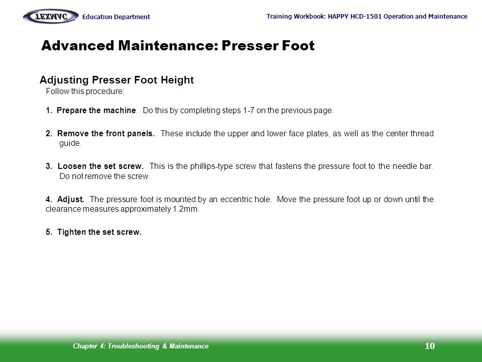 Advanced Maintenance: Presser Foot