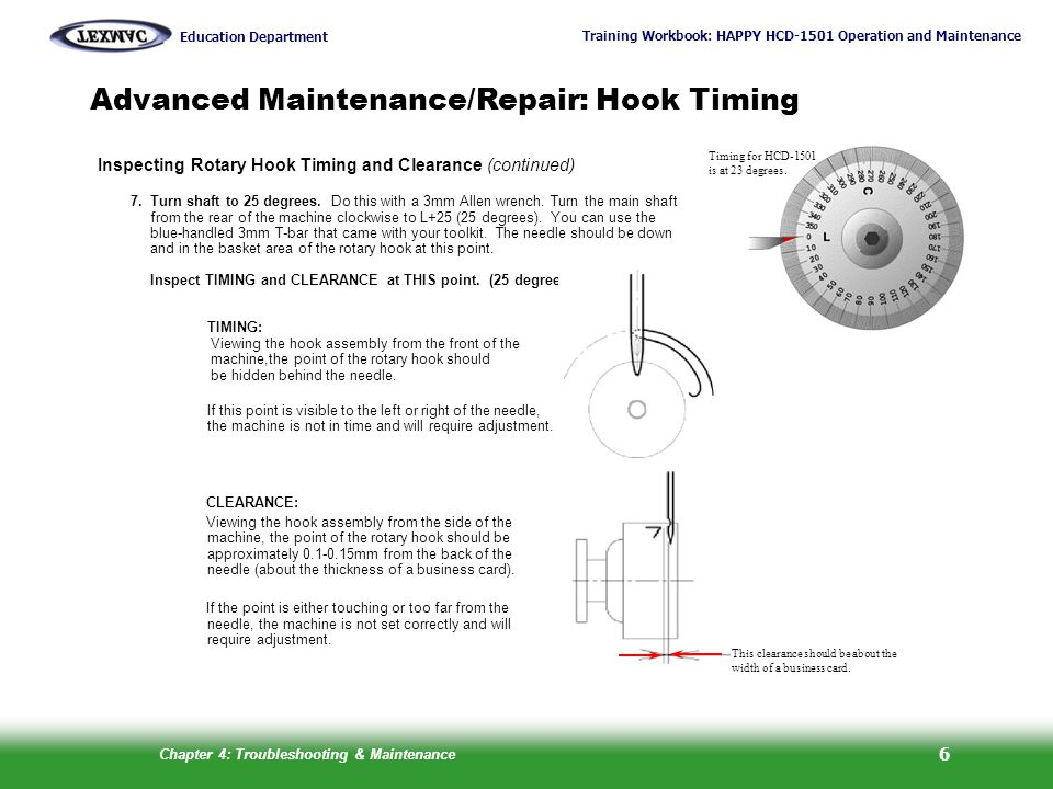 Advanced Maintenance/Repair: Hook Timing