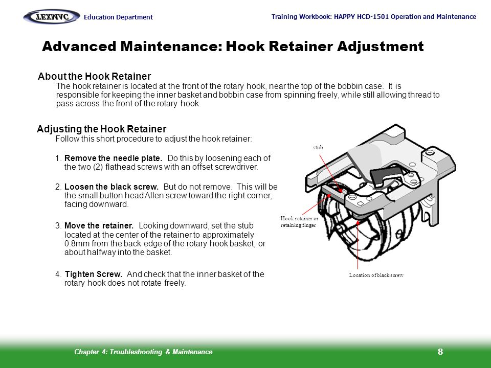 Advanced Maintenance: Hook Retainer Adjustment
