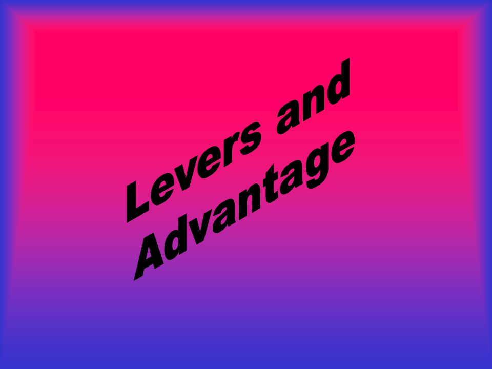 Levers and Advantage
