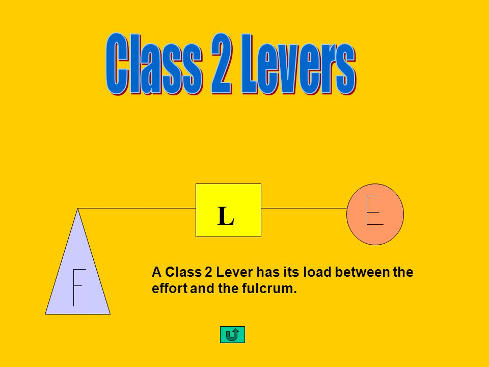 Class 2 Levers L A Class 2 Lever has its load between the effort and the fulcrum.