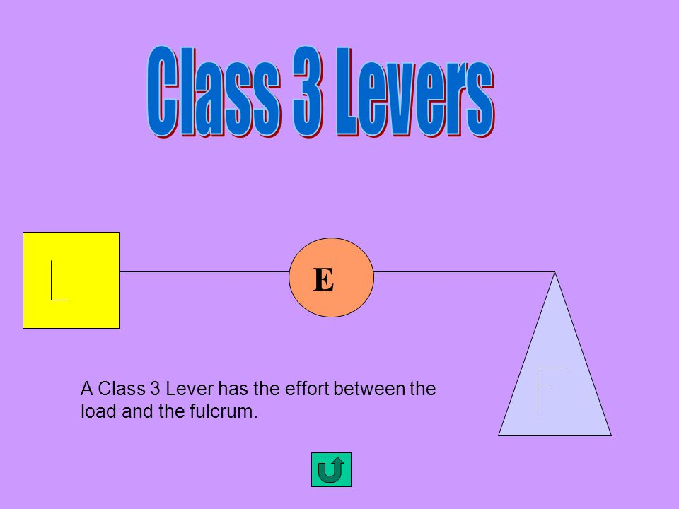 Class 3 Levers E A Class 3 Lever has the effort between the load and the fulcrum.