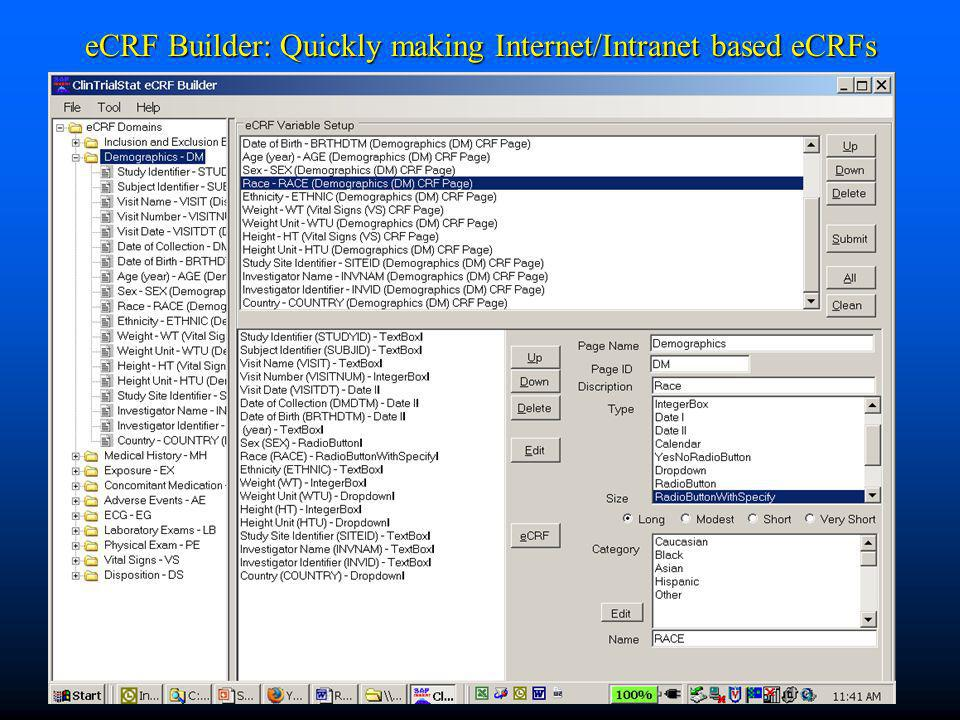 eCRF Builder: Quickly making Internet/Intranet based eCRFs