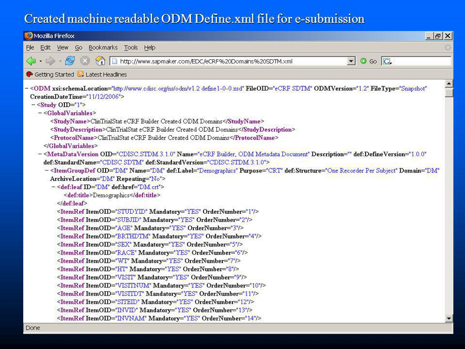 Created machine readable ODM Define.xml file for e-submission