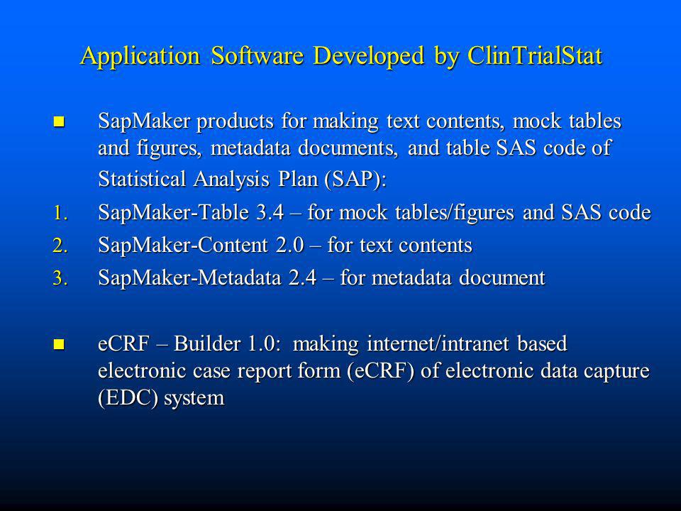 Application Software Developed by ClinTrialStat