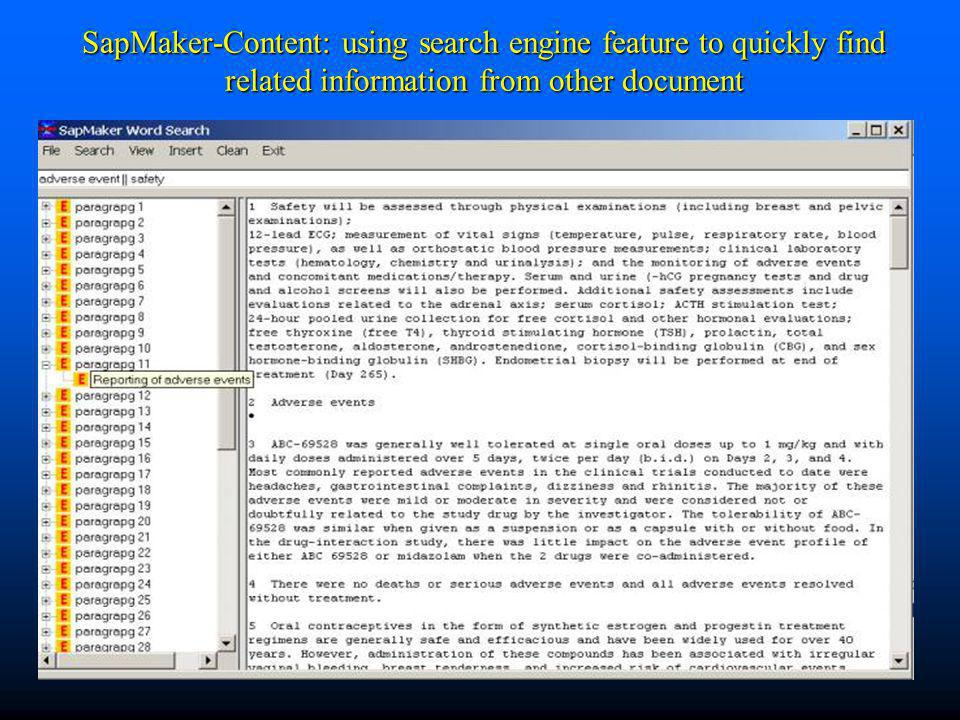 SapMaker-Content: using search engine feature to quickly find related information from other document