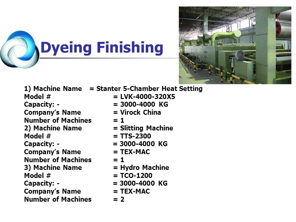 Dyeing Finishing 1) Machine Name = Stanter 5-Chamber Heat Setting
