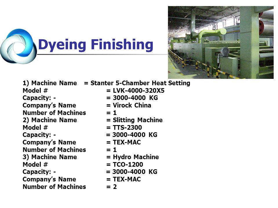 Dyeing Finishing 1) Machine Name = Stanter 5-Chamber Heat Setting