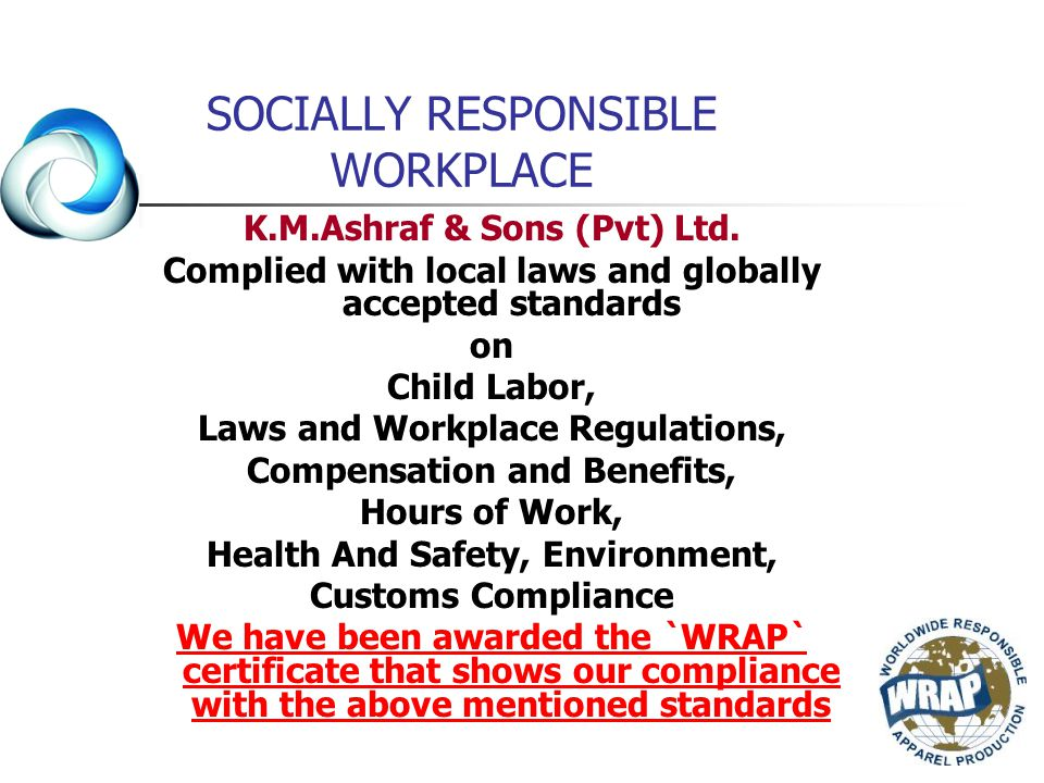 SOCIALLY RESPONSIBLE WORKPLACE