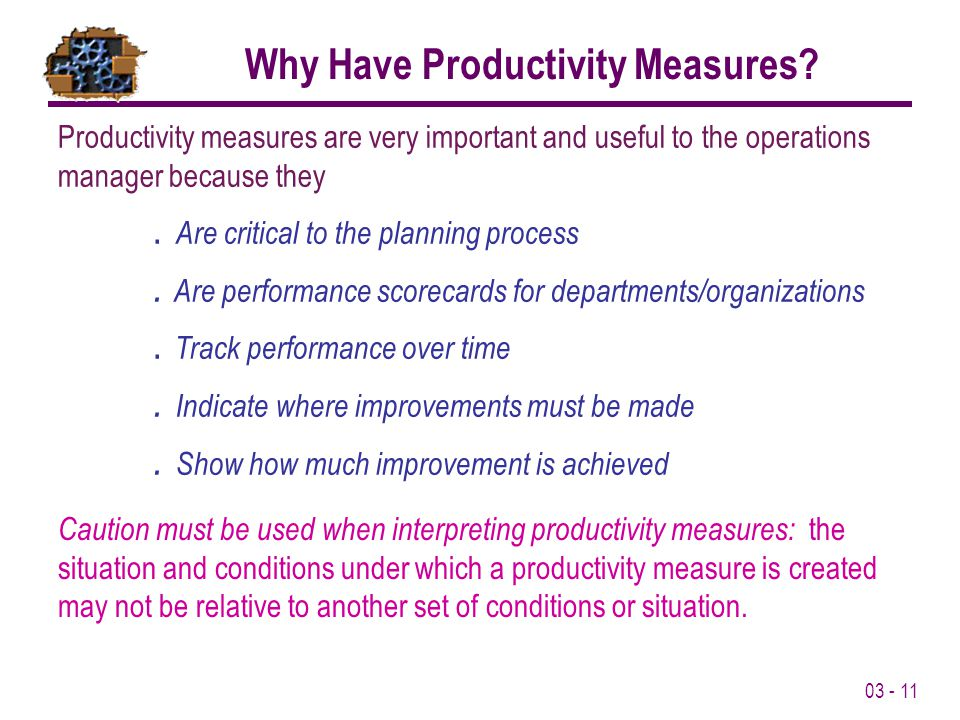 Why Have Productivity Measures