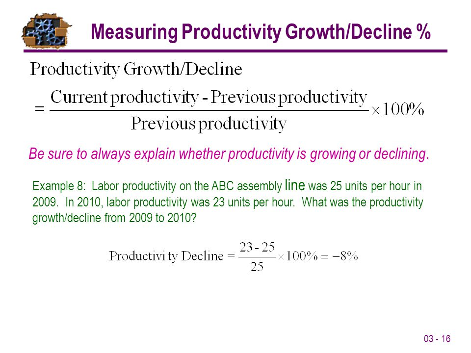 Measuring Productivity Growth/Decline %