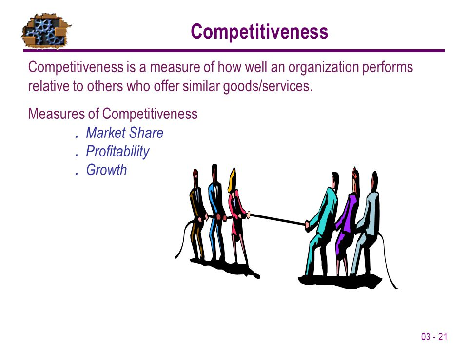 Competitiveness Competitiveness is a measure of how well an organization performs relative to others who offer similar goods/services.
