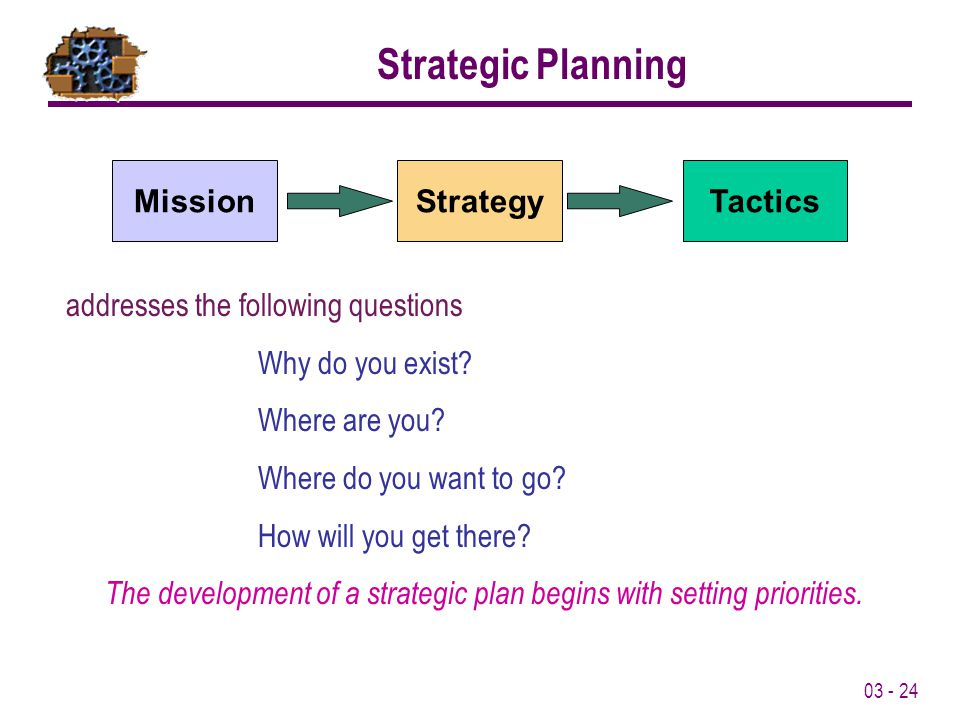 The development of a strategic plan begins with setting priorities.