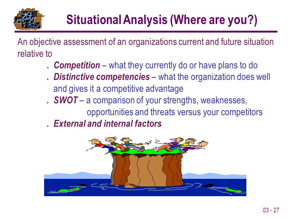 Situational Analysis (Where are you )