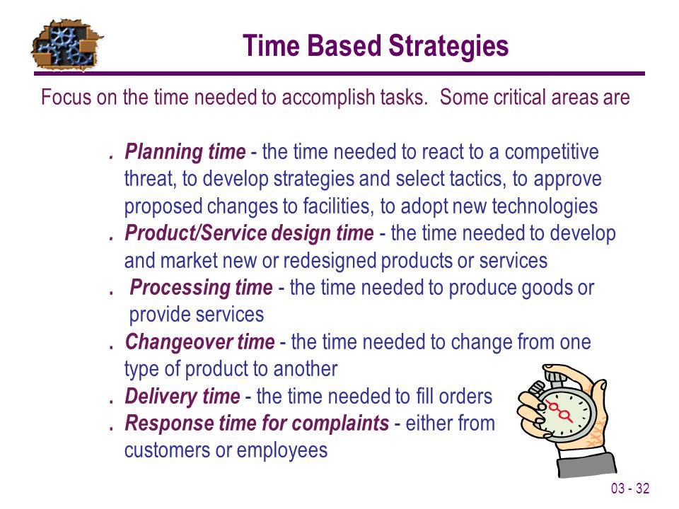 Time Based Strategies Focus on the time needed to accomplish tasks. Some critical areas are.