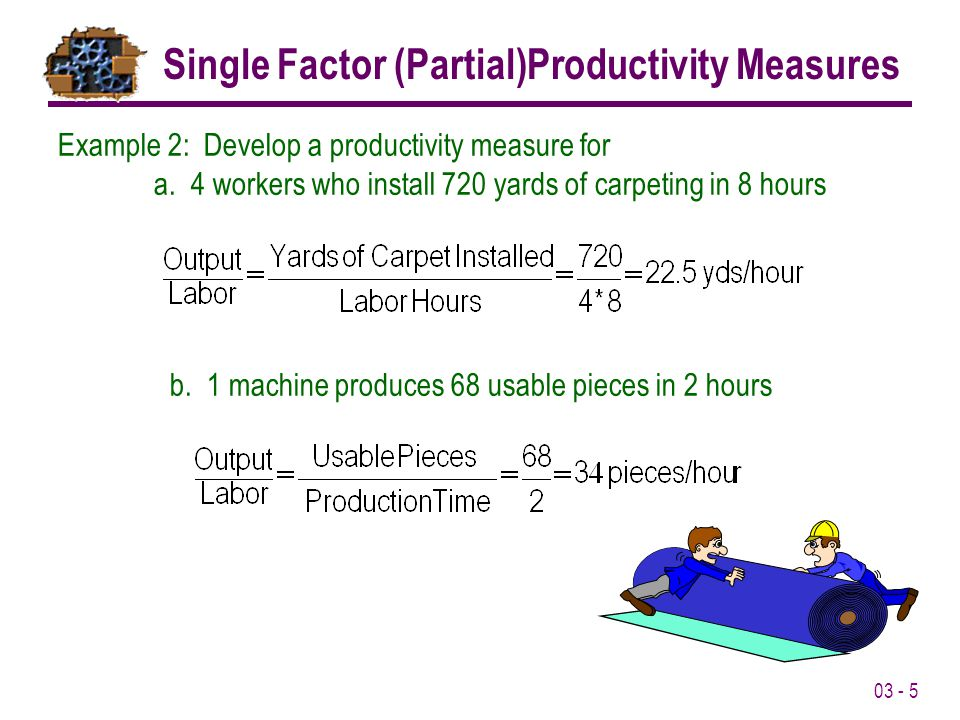 Single Factor (Partial)Productivity Measures