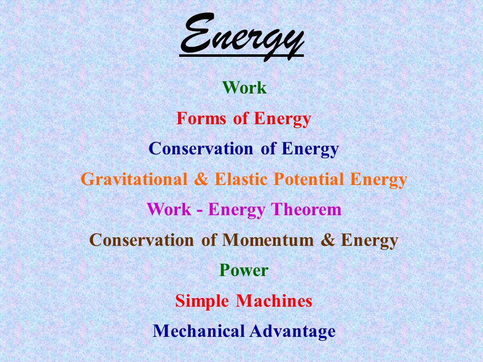 Energy Work Forms of Energy Conservation of Energy