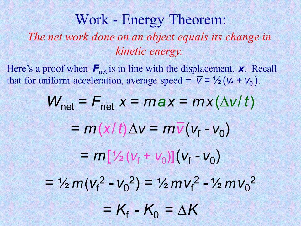 Wnet = Fnet x = m a x = m x (v / t ) = m (x / t) v = m v (vf - v0)