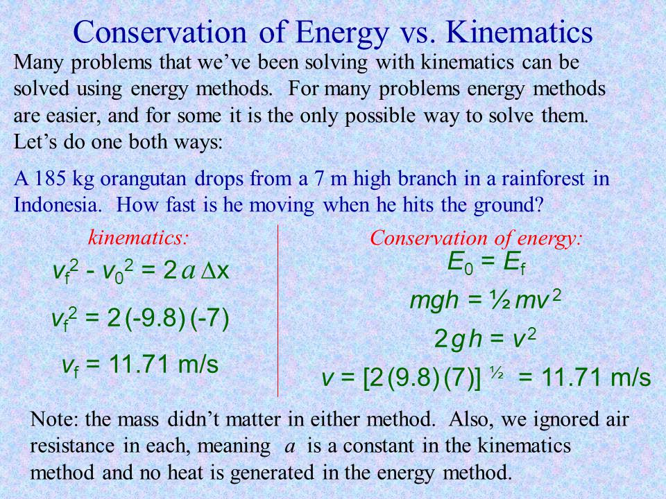 Conservation of Energy vs. Kinematics