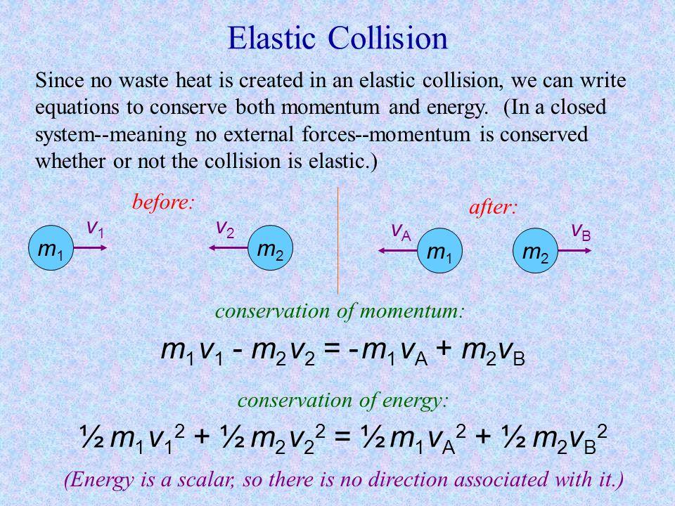 Elastic Collision m1 v1 - m2 v2 = - m1 vA + m2vB