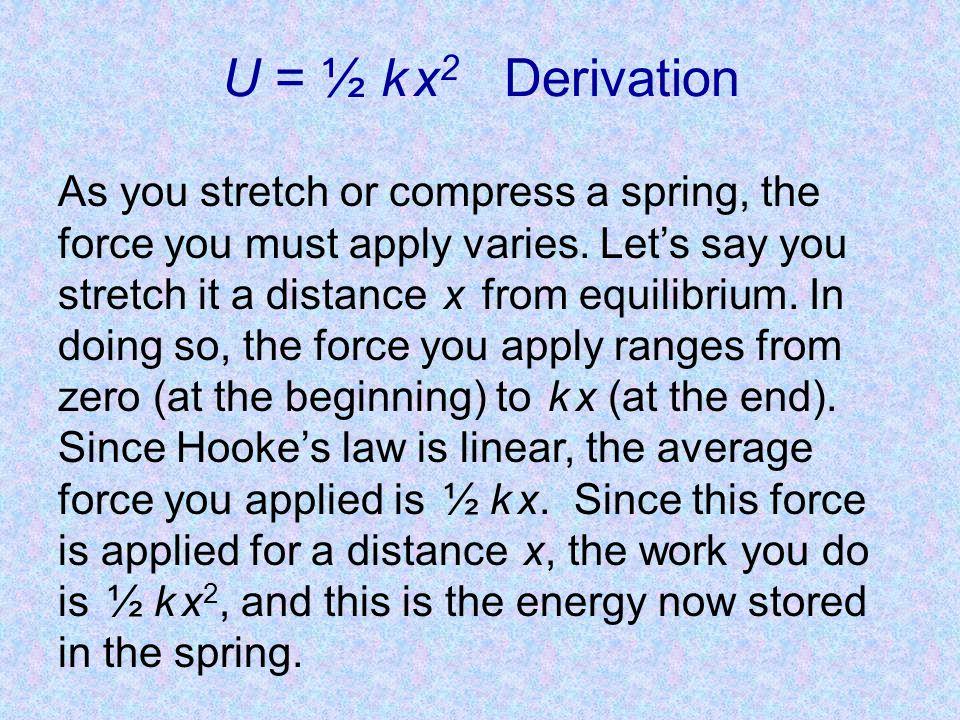 U = ½ k x2 Derivation