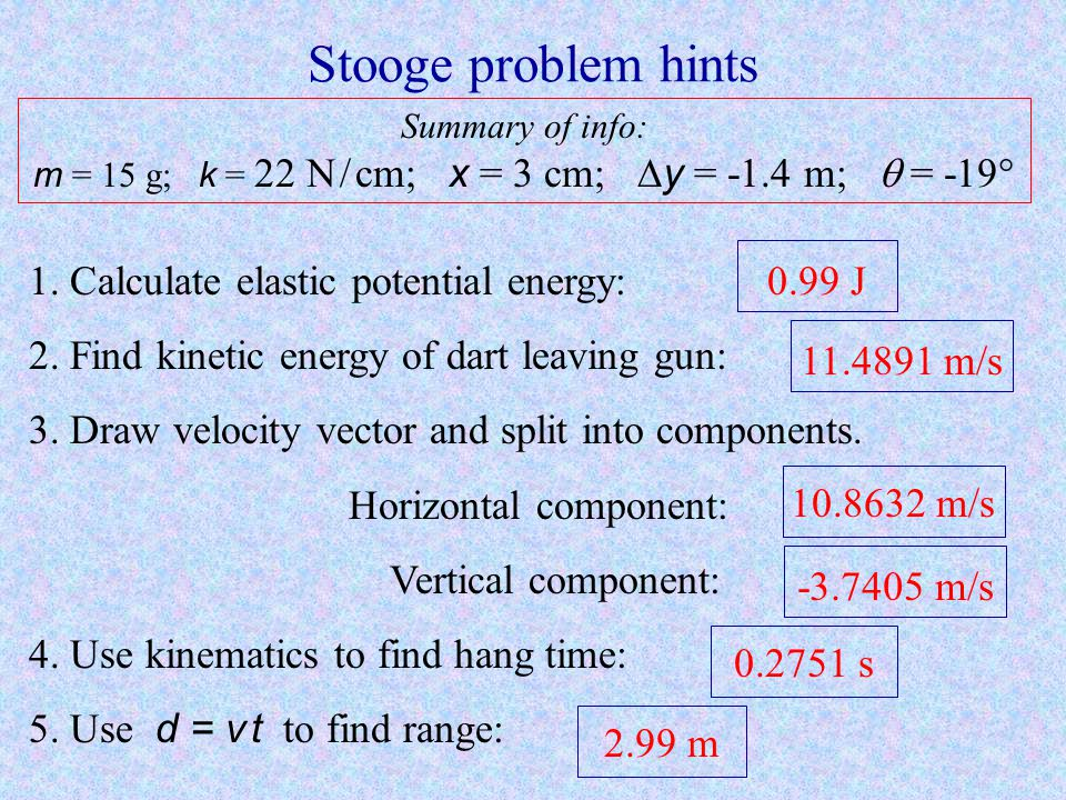 Stooge problem hints 1. Calculate elastic potential energy: