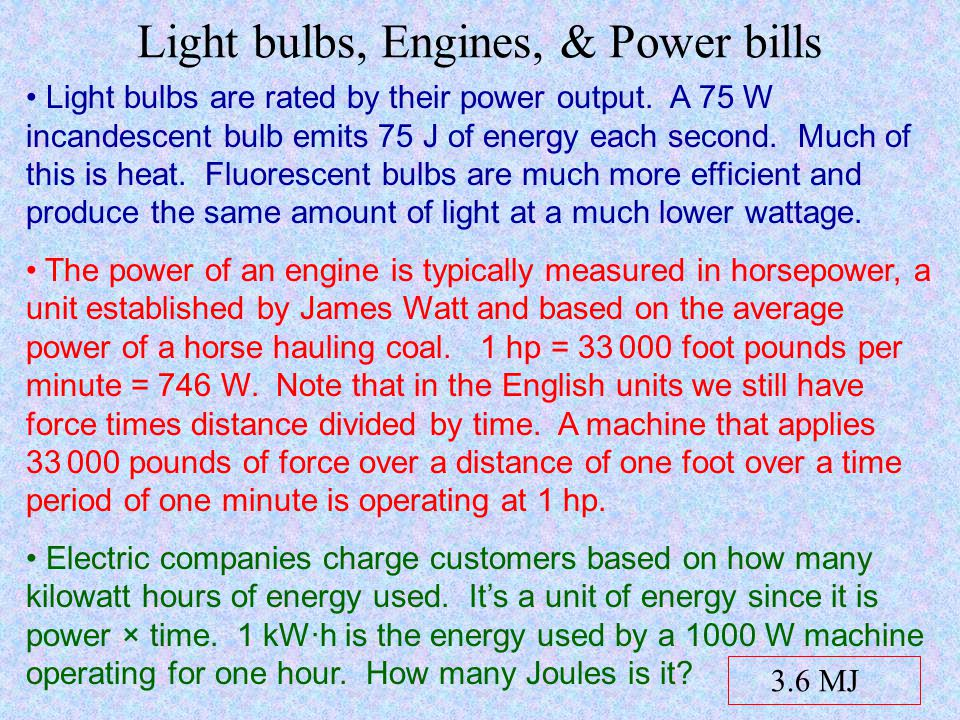 Light bulbs, Engines, & Power bills