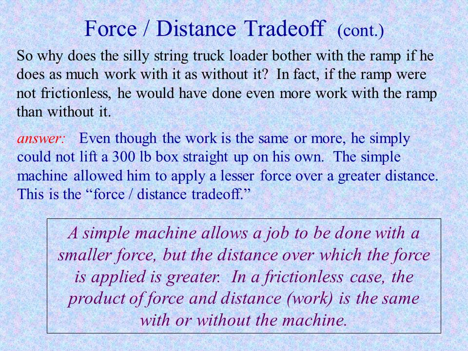 Force / Distance Tradeoff (cont.)