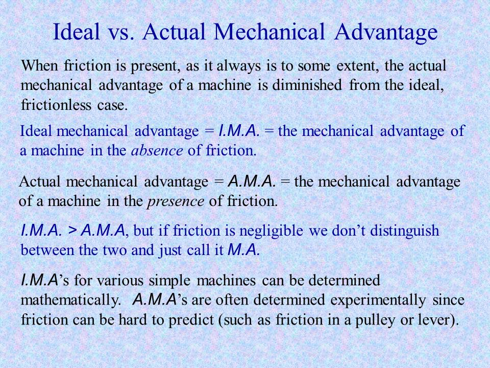 Ideal vs. Actual Mechanical Advantage