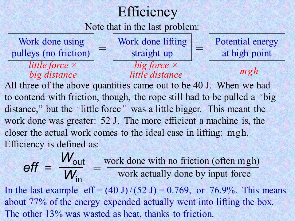 Efficiency = = Wout eff = = Win Note that in the last problem: