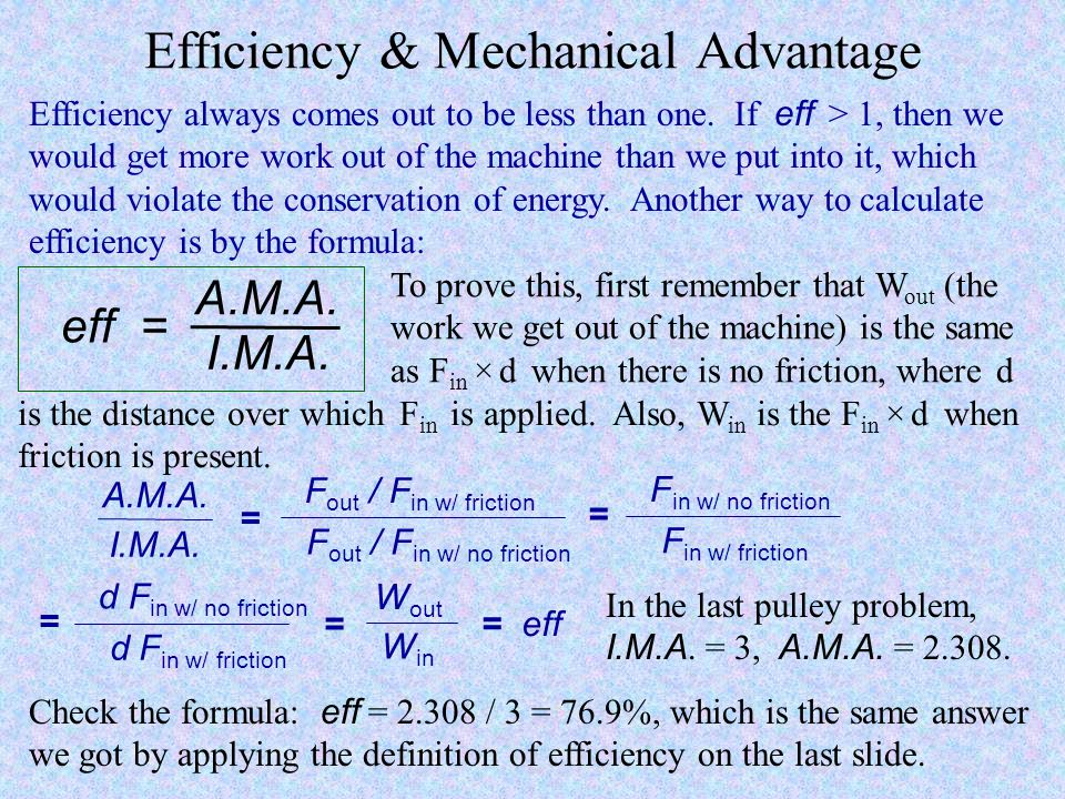 Efficiency & Mechanical Advantage