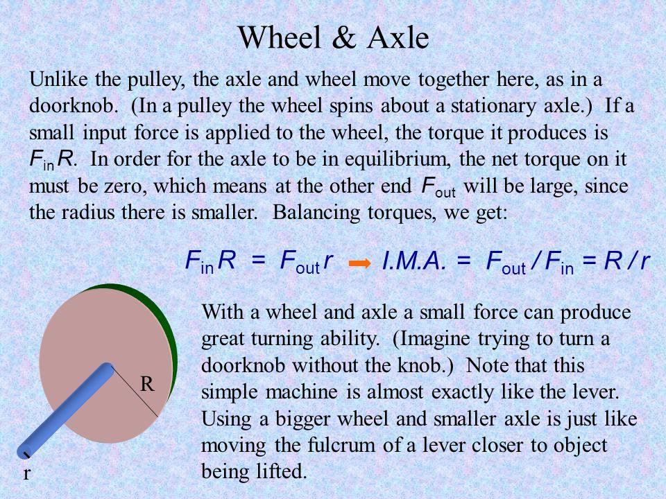 Wheel & Axle Fin R = Fout r I.M.A. = Fout / Fin = R / r