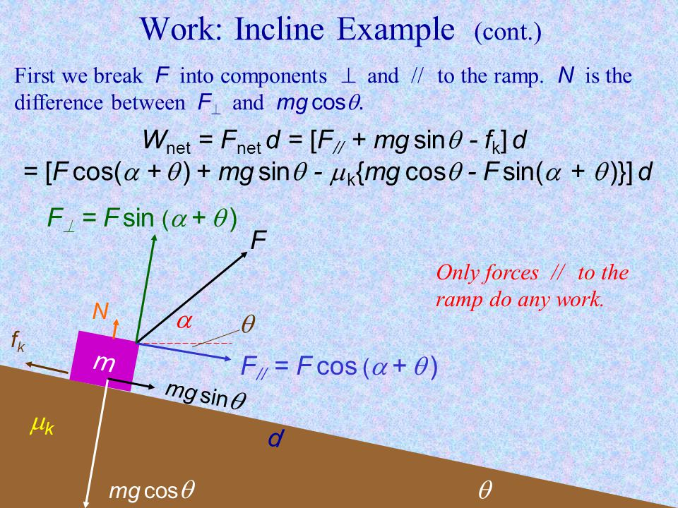 Work: Incline Example (cont.)