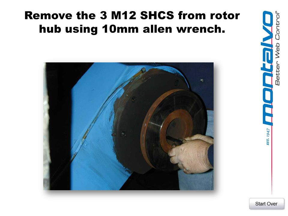 Remove the 3 M12 SHCS from rotor hub using 10mm allen wrench.