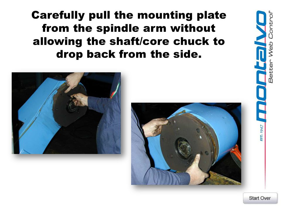 Carefully pull the mounting plate from the spindle arm without allowing the shaft/core chuck to drop back from the side.