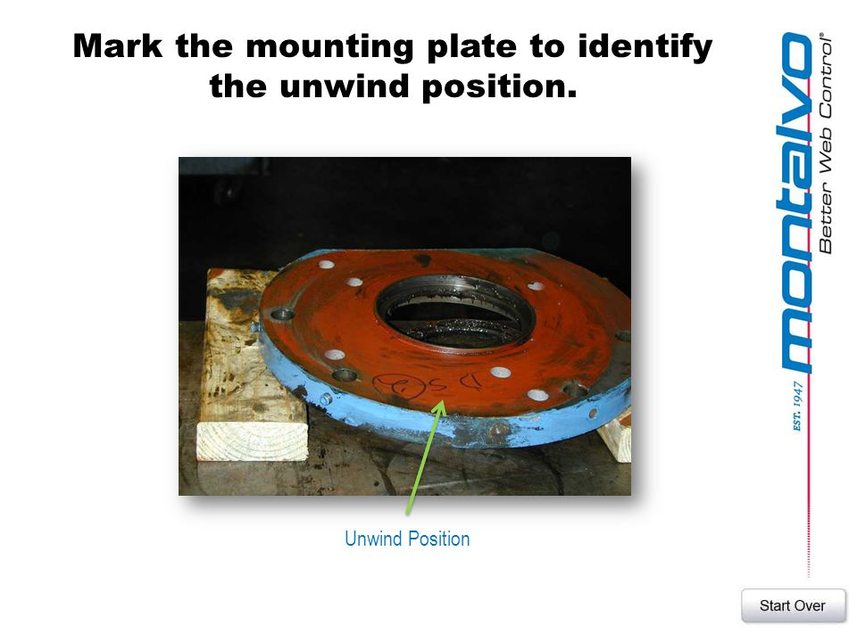 Mark the mounting plate to identify the unwind position.
