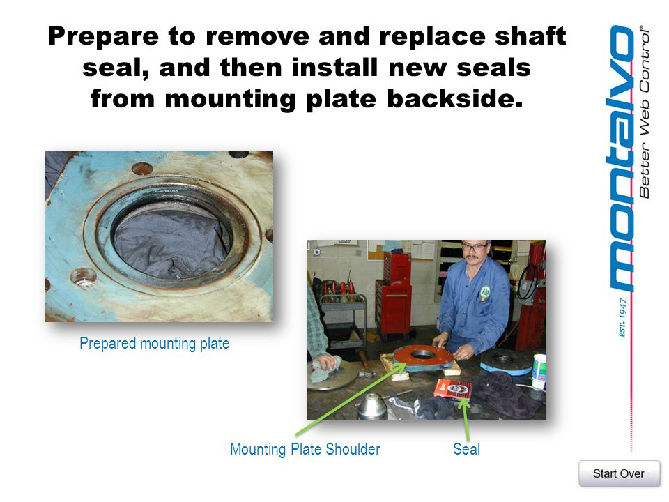 Prepare to remove and replace shaft seal, and then install new seals from mounting plate backside.